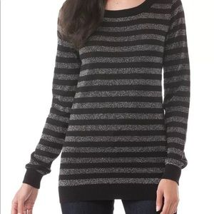 Michael Kors Black Metallic Silver Striped Sweater